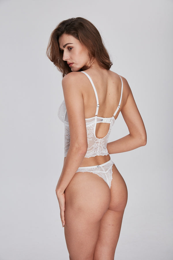 Tailored white Thong