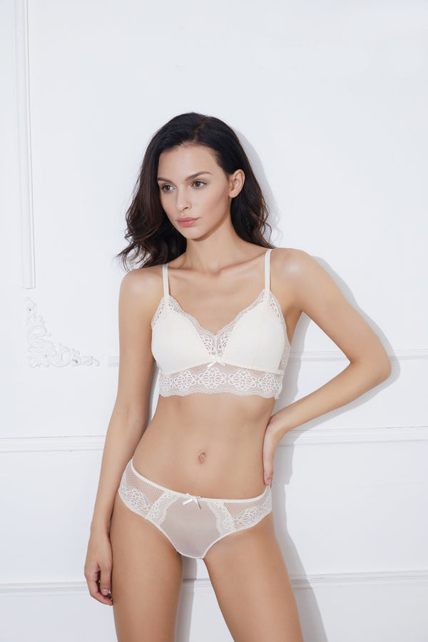 Aveen White lace full brief