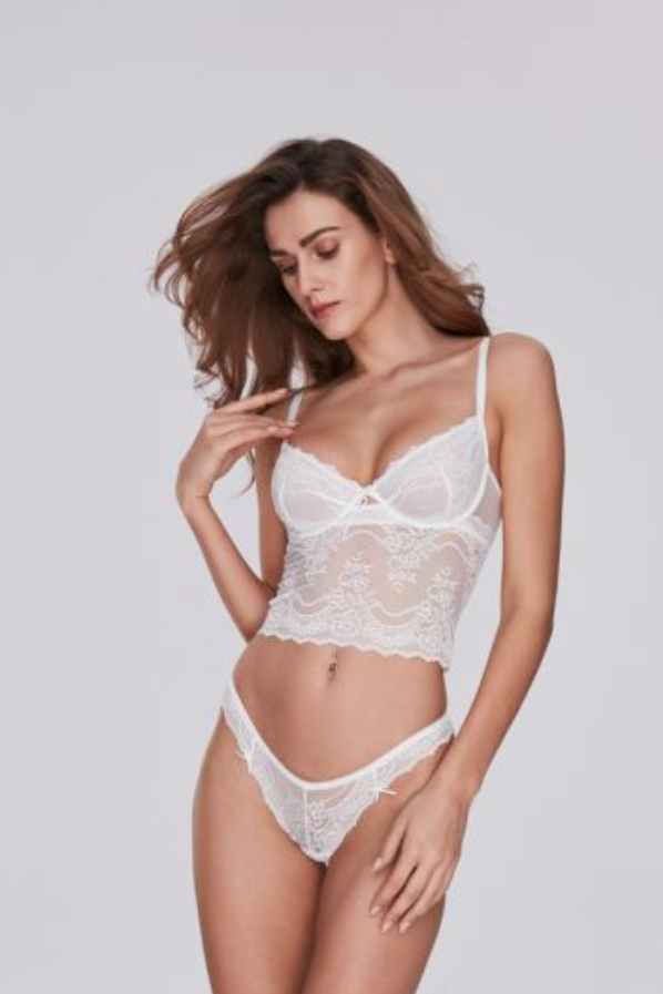 Tailored white Long-line Underwire Bra