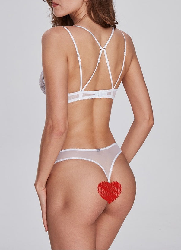 Pluma Lace Thong White