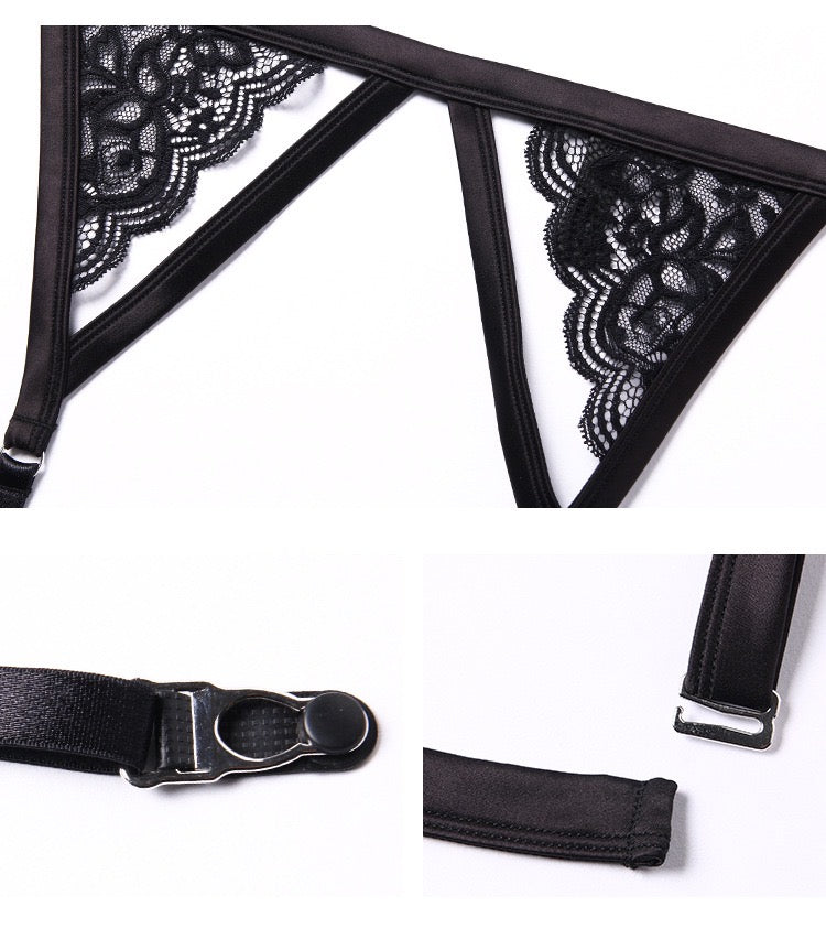 Déesse black suspender belt