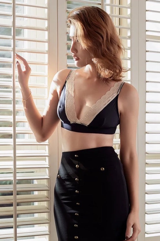 French Resistance black wirefree bra
