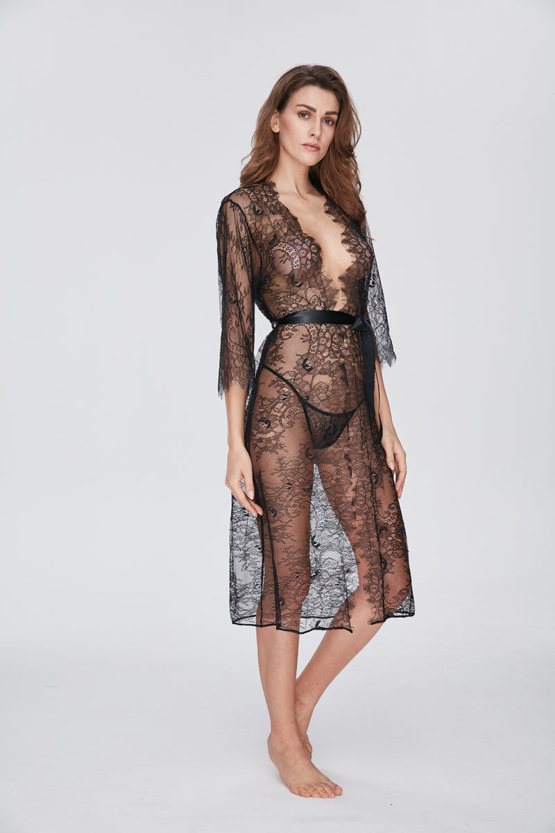 Serendipity Sheer Lace Wrap with Belt Black