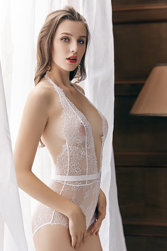 Pluma white lace Bodysuit