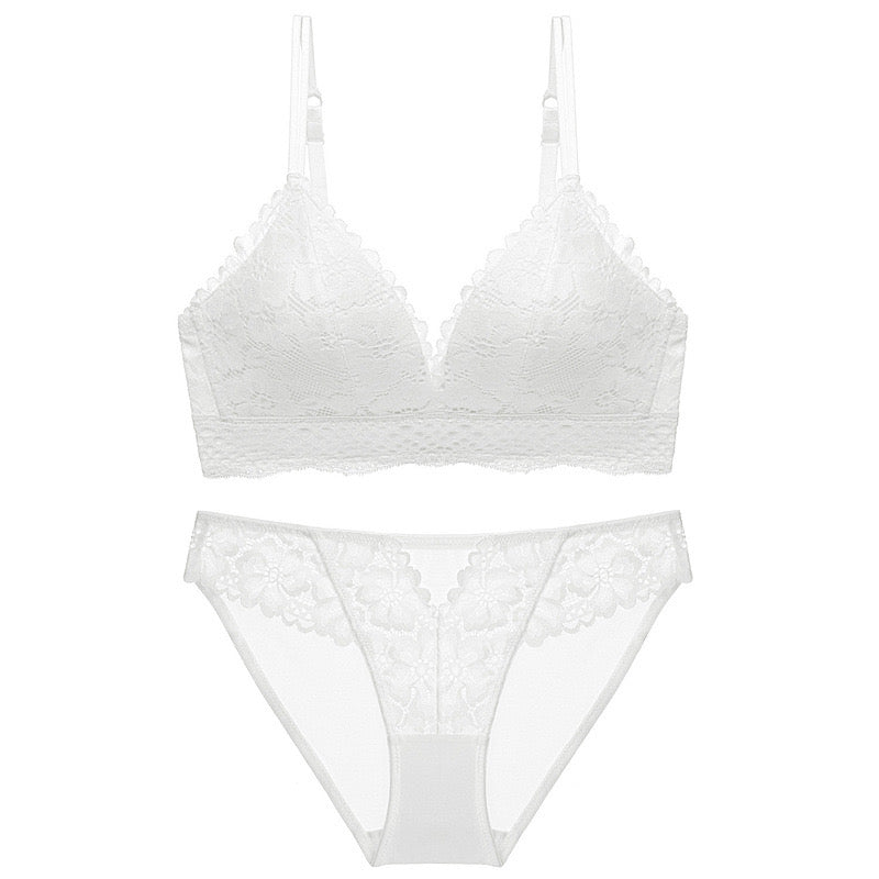 Elle white lace full brief