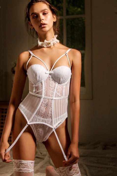 Valentina white corset and thong set