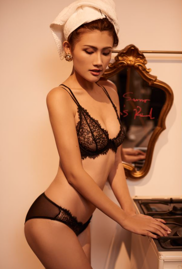 Pluma black Lace underwire Bra
