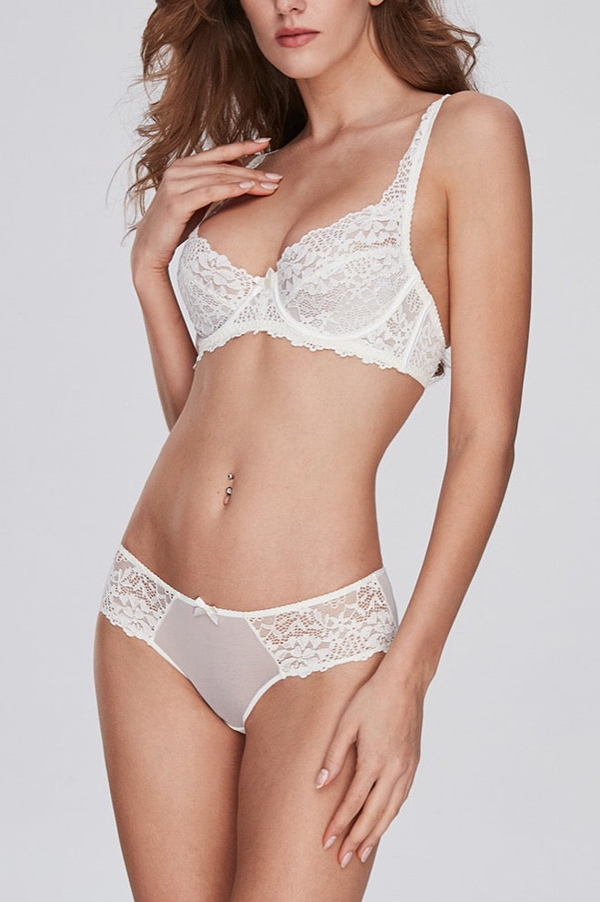 Belle White Lace Underwire Bra