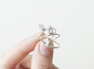 TINY AMSTERDAM / miniature dutch house ring in sterling silver