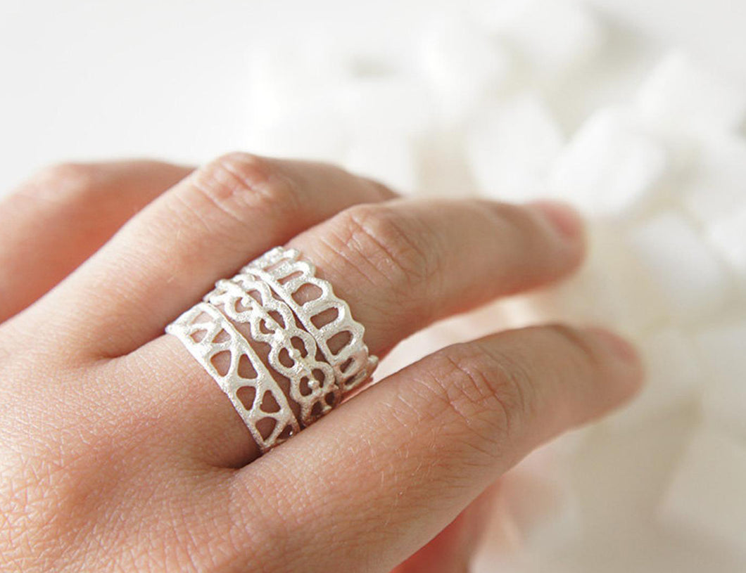 ASHUM . AYN . HAWA / moroccan inspired stackable rings in sterling silver
