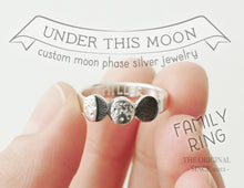 Load image into Gallery viewer, UNDER THIS MOON FAMILY RING / multiple custom moon phases ring in sterling silver