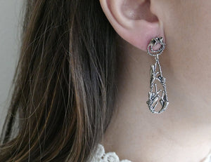 FLOURISHING TEARDROP / botanical dangling earrings in sterling silver