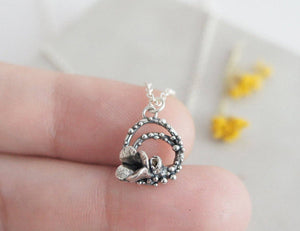 FLOWERET / mini floral necklace in sterling silver