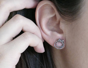 FLOWERET / mini floral earring studs in sterling silver