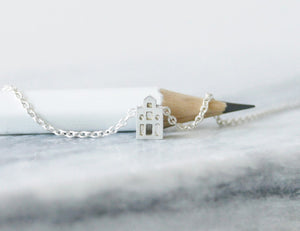 GELUK - LUCK / miniature dutch house necklace in sterling silver