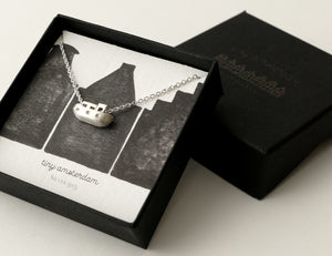 GEZELLIG - COZY / miniature amsterdam boathouse pendant in sterling silver