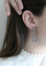 Load image into Gallery viewer, FLOURISHING TEARDROP / botanical dangling earrings in sterling silver