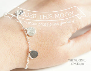 UNDER THIS MOON / custom moon phase bracelet in sterling silver