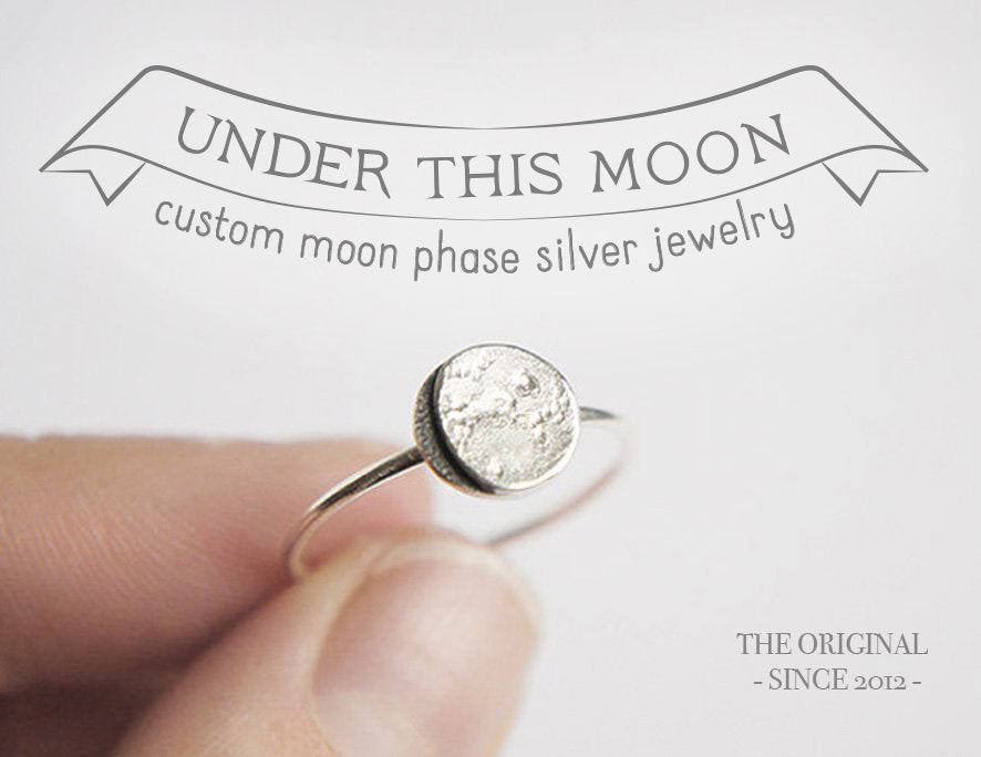 UNDER THIS MOON / custom moon phase ring in sterling silver