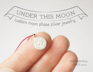 UNDER THIS MOON / personalised moon phase necklace in sterling silver & natural silk