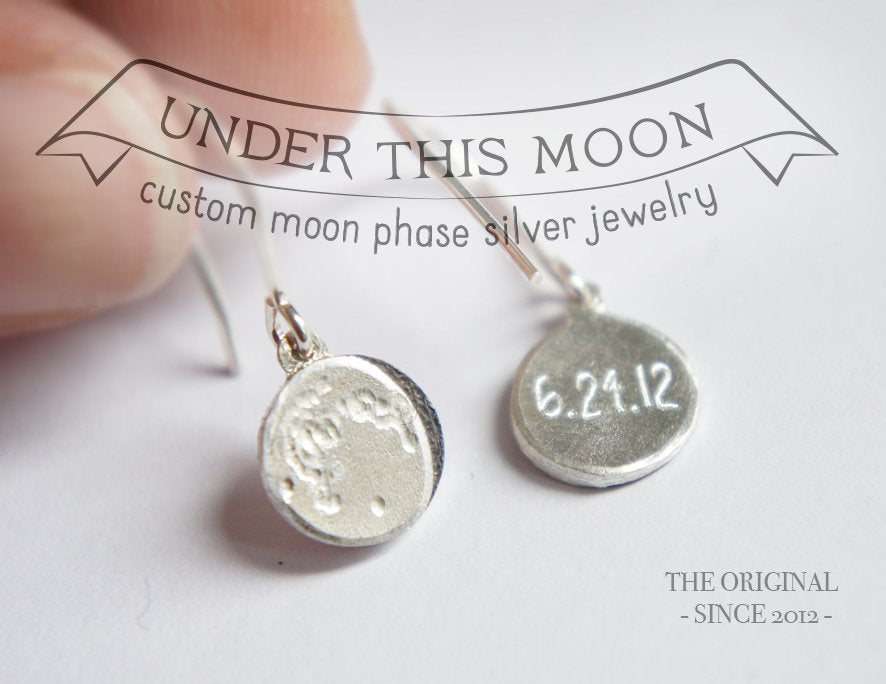 UNDER THIS MOON / personalised moon phase hook earrings in sterling silver