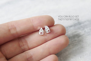 TINY AMSTERDAM EARRINGS / miniature dutch house stud earrings in sterling silver