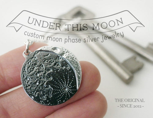 UNDER THIS MOON / custom moon phase keychain in sterling silver