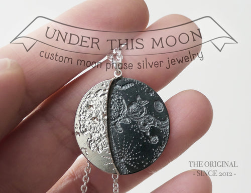 UNDER THIS MOON / custom SUPERMOON moon phase necklace in sterling silver