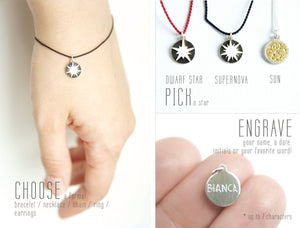 IN THIS UNIVERSE / custom engraved sun, supernova, dwarf star charms in sterling silver and brass
