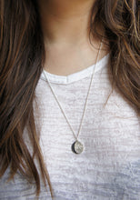 Load image into Gallery viewer, UNDER THIS MOON / personalised BIG moon phase necklace in sterling silver & natural silk