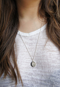 UNDER THIS MOON / personalised BIG moon phase necklace in sterling silver & natural silk