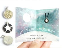 Load image into Gallery viewer, IN THIS UNIVERSE / custom engraved sun, supernova, dwarf star charms in sterling silver and brass