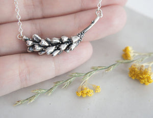 LAVENDER BRANCH / botanical necklace in sterling silver