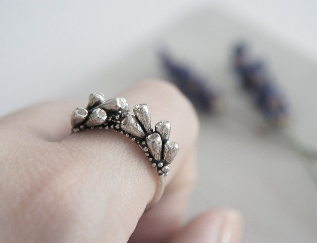 LAVENDER BRANCHES / floral ring in sterling silver