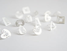 Load image into Gallery viewer, MINI GEM STUDS / hand-pierced gem shaped earrings in sterling silver