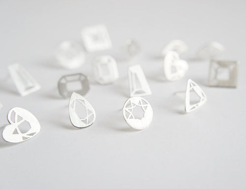 MINI GEM STUDS / hand-pierced gem shaped earrings in sterling silver