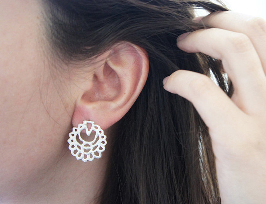 QAMAR / moroccan inspired stud earrings in sterling silver