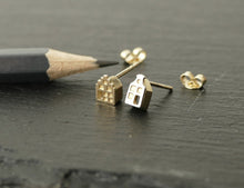 Load image into Gallery viewer, TINY AMSTERDAM 14k GOLD EARRINGS - miniature dutch house studs in solid 14k gold (585)