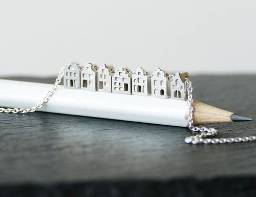 TINY AMSTERDAM NECKLACE / multiple dutch houses necklace in sterling silver