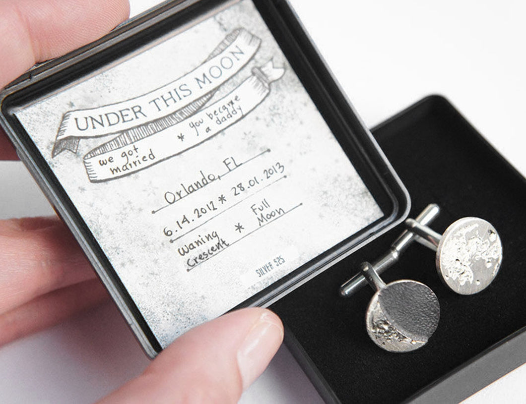 UNDER THIS MOON / personalised moon phase cufflinks in sterling silver