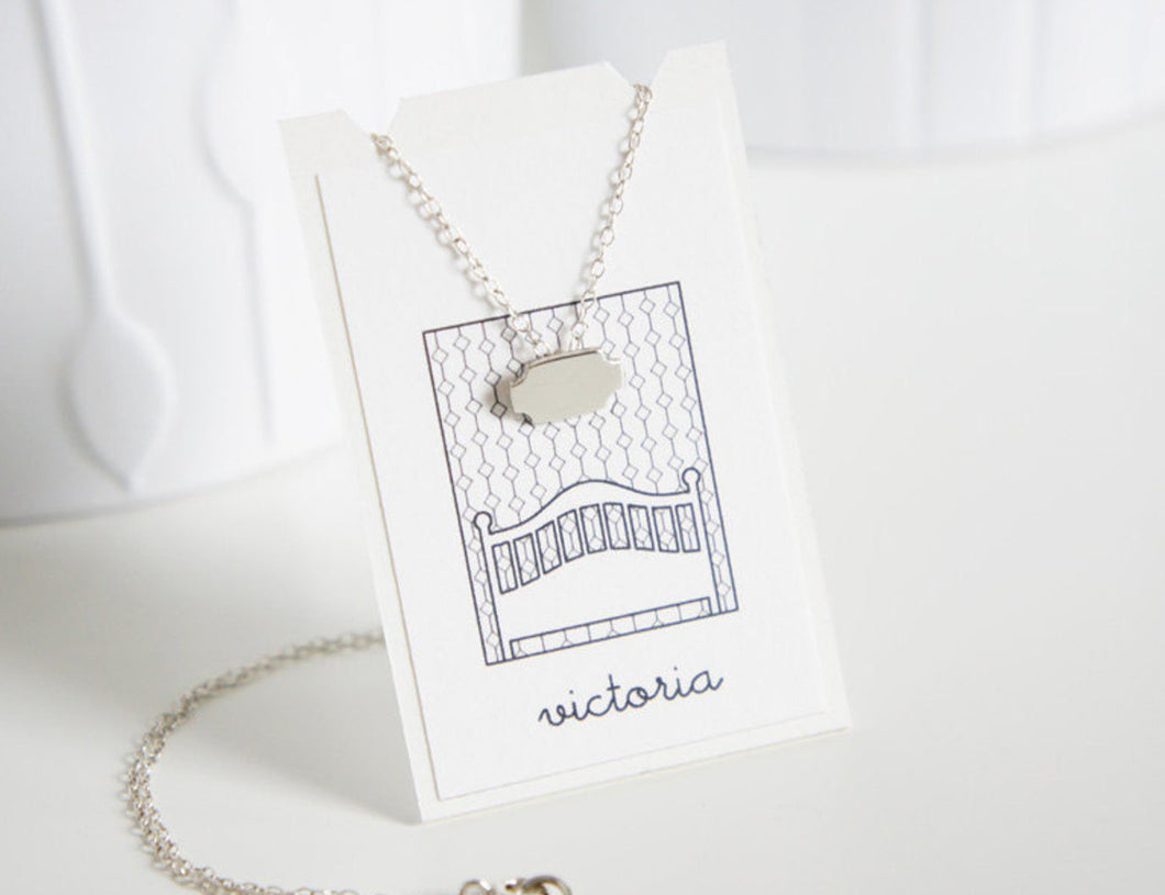 VICTORIA / miniature mirror necklace in sterling silver