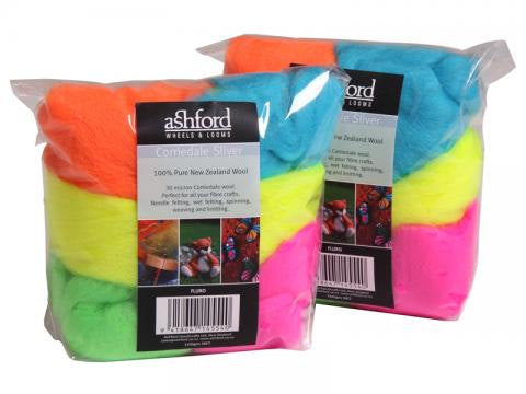 Felting wool palette kit, corriedale 3.5 oz, Color: Neon