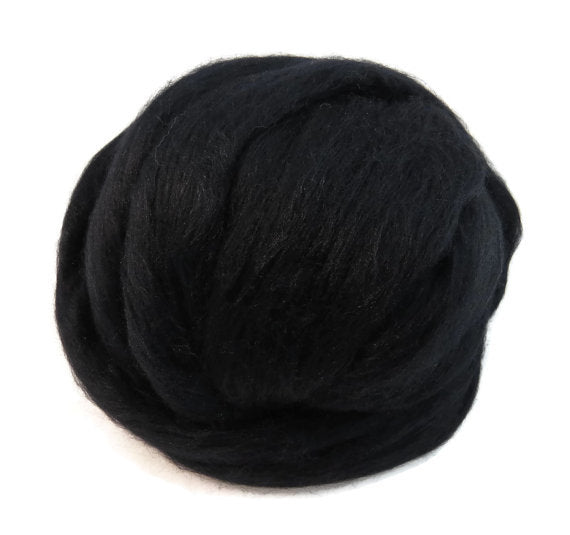 Corriedale wool roving , Jet Black