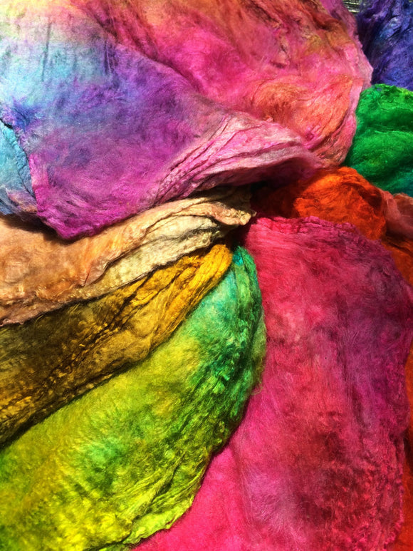 Hand dyed Silk Hankies Multi pack, cold and warm mix
