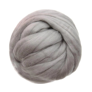 Merino / Silk  Roving, ( Cloud Gray )