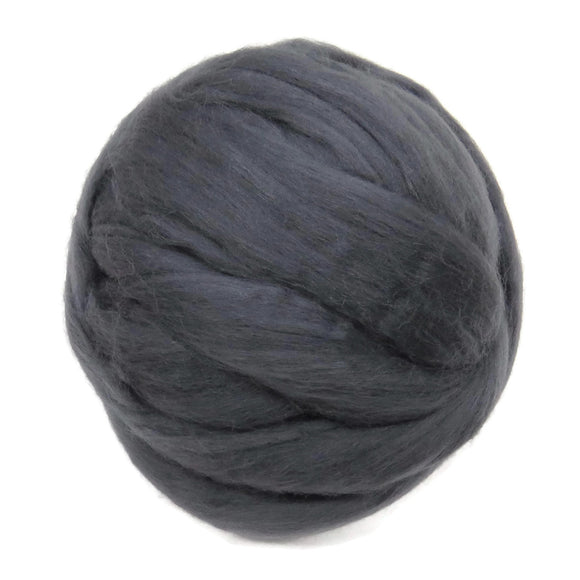 Merino / Silk Roving color: ( Storm Gray )- Neutral Color Mulberry Wool Silk Blend Fiber for Spinning & Felting