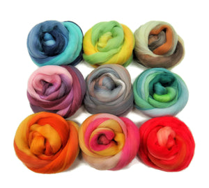 New! Varigated Felters Palette superfine merino wool, 4oz, 9 colors, Tempera Collection