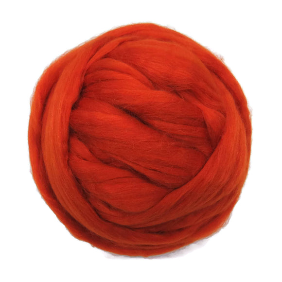 Merino / Silk Roving color: ( Pumpkin )- Vibrant Color Mulberry Wool Silk Blend Fiber for Spinning & Felting