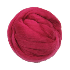 Merino / Silk Roving color: ( Raspberry )- Vibrant Color Mulberry Wool Silk Blend Fiber for Spinning & Felting