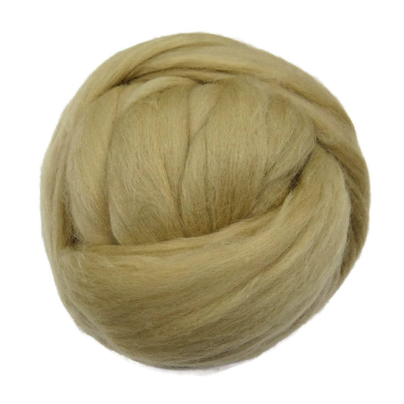 Merino / Silk Roving ( Sage ) - Neutral Color ,Merino Wool Silk Blend Fiber for Spinning & Felting